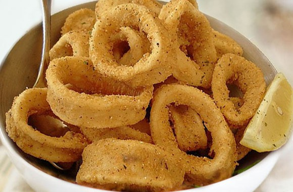 Anelli di calamari al forno olio extravergine di oliva Piave